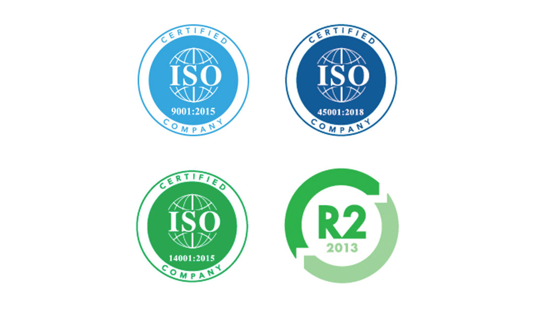AGParts Worldwide is ISO 9001, 14001, 45001, and R2 Certified